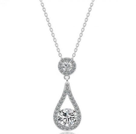 Elegant Silver Crystal Drop Necklace