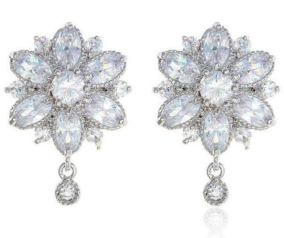 Sparkling Flower Earrings | Cubic Zirconia