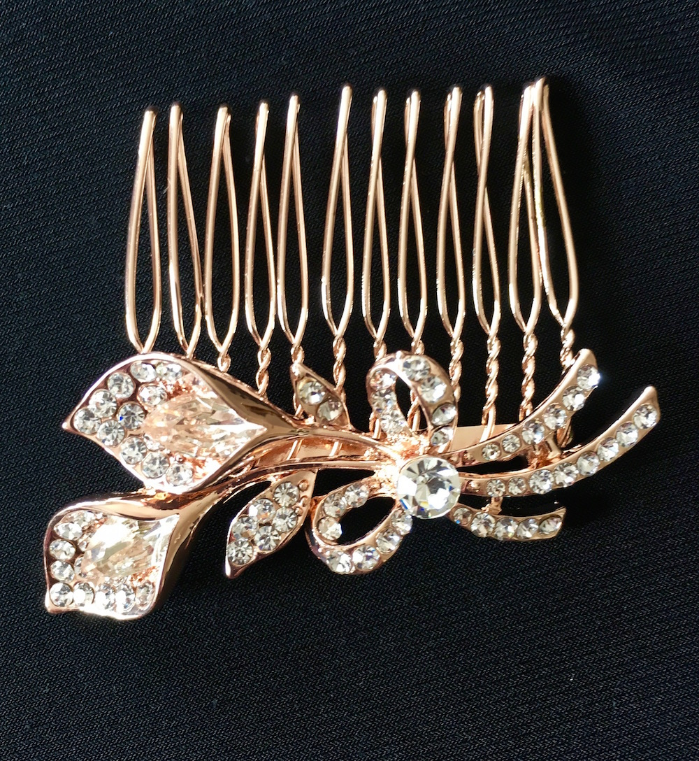 Rose Gold Trumpet Flower Hair Comb
